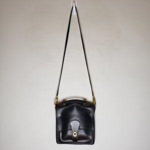 Vintage Coach Black Leather Crossbody Bag